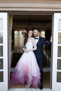 robe de mariée blanche & rose dégradé