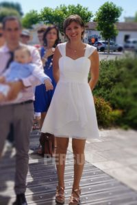 simple robe de mariée courte à mancheron