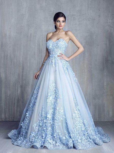 robe de mariée bleu longue avec broderies