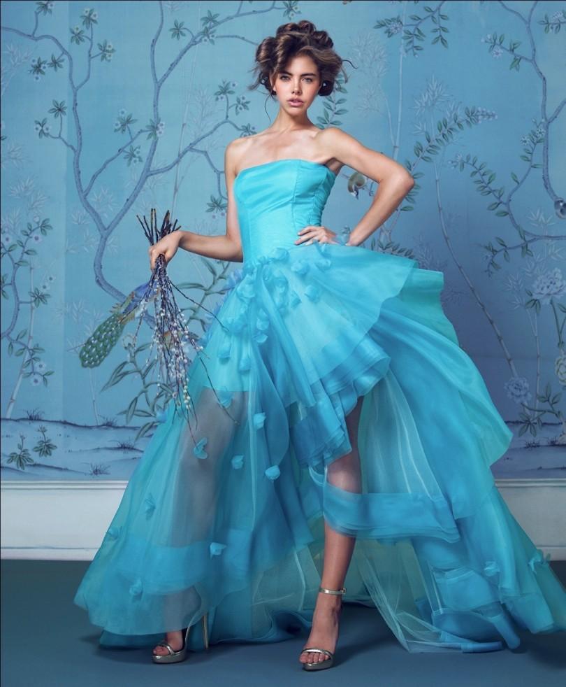 robe de mariée bleu princesse style bascule à fleurs 3D