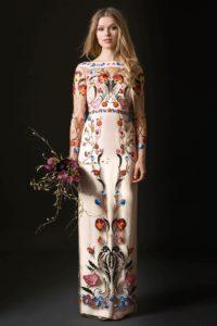robe de mariée fleurie à manche longue