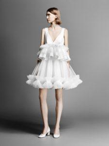 robe de mariée courte col en V ruché