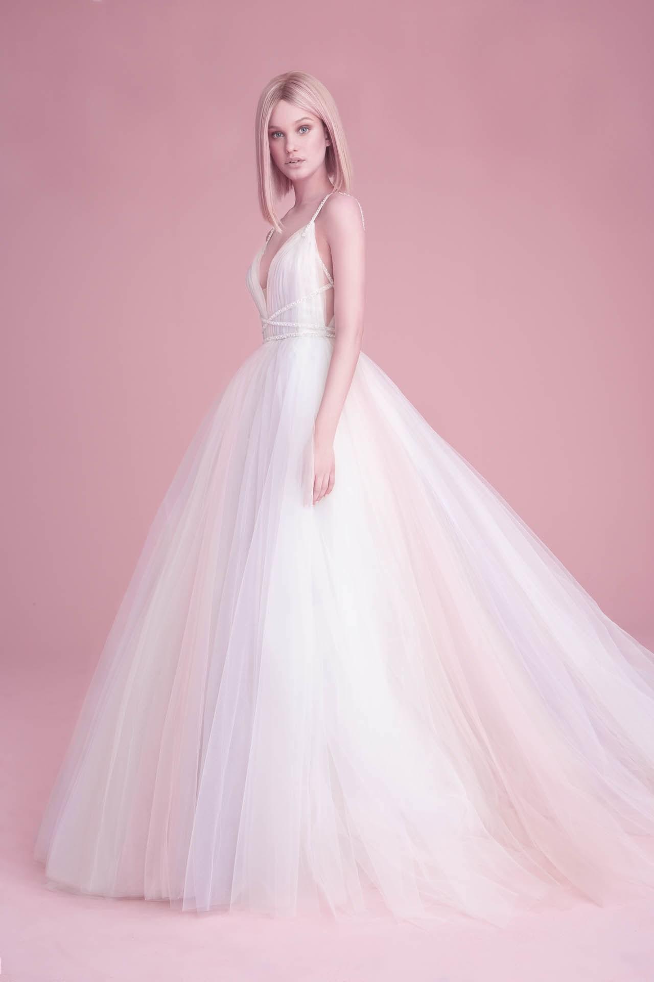 robe de mariée princesse colorée col en V