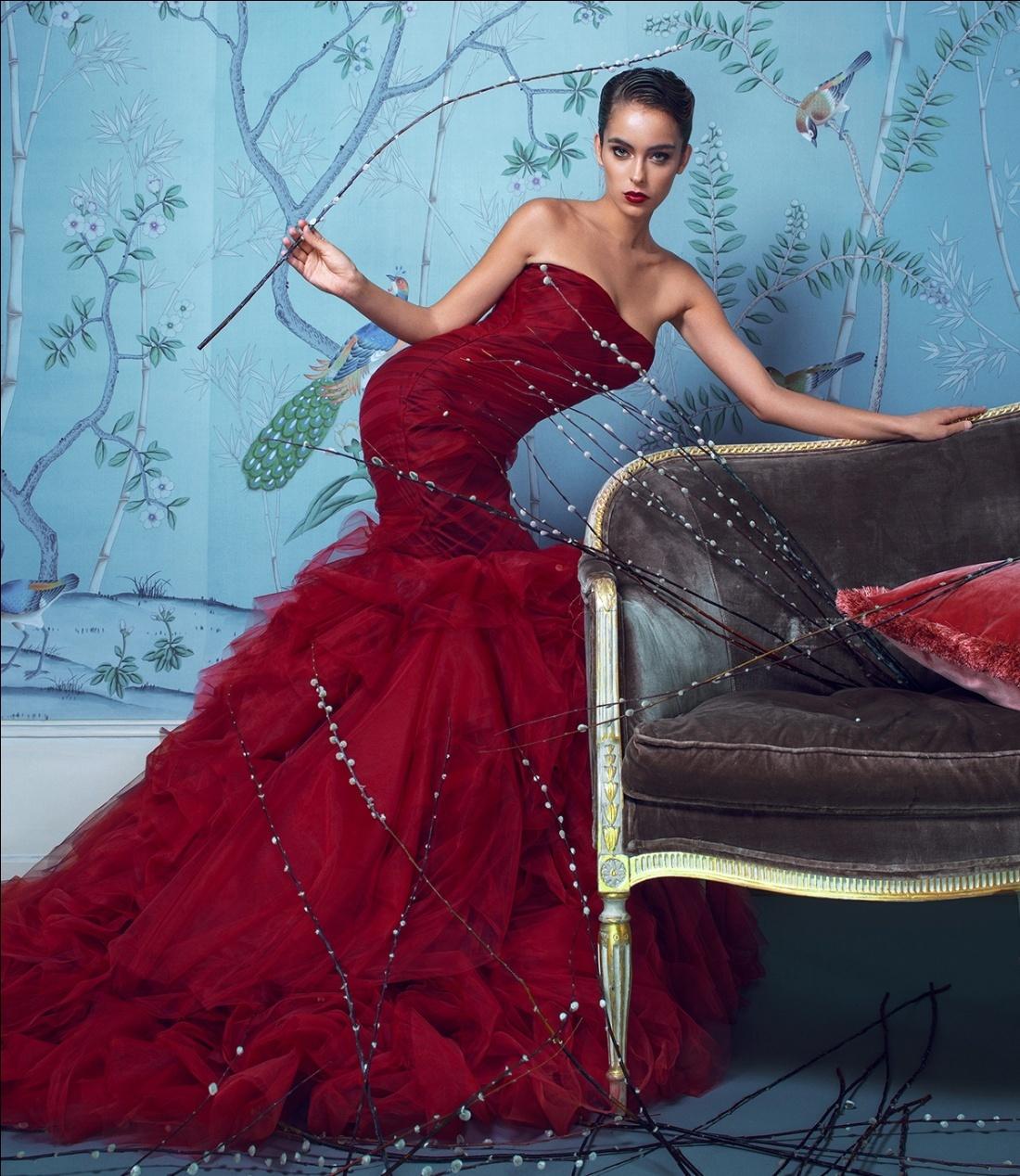 robe de mariée rouge bordeaux sirène sexy