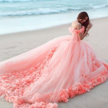 robe orange de mariée épaule dénudée