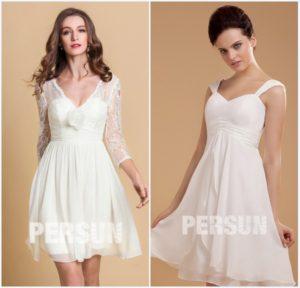 robes courtes de mariée style simple