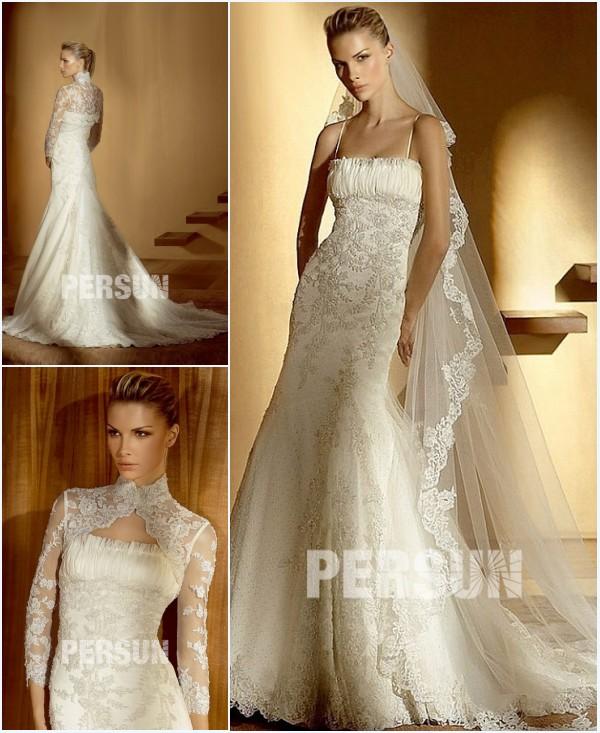 boléro de mariage dentelle à manche et robe de mariée sirène longue appliquée de dentelle & bijoux