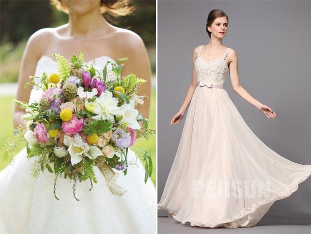 bouquet champêtre et robe de mariée fluide appliqué de dentelle