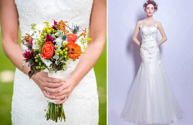 bouquet de long tige et robe de mariée siène