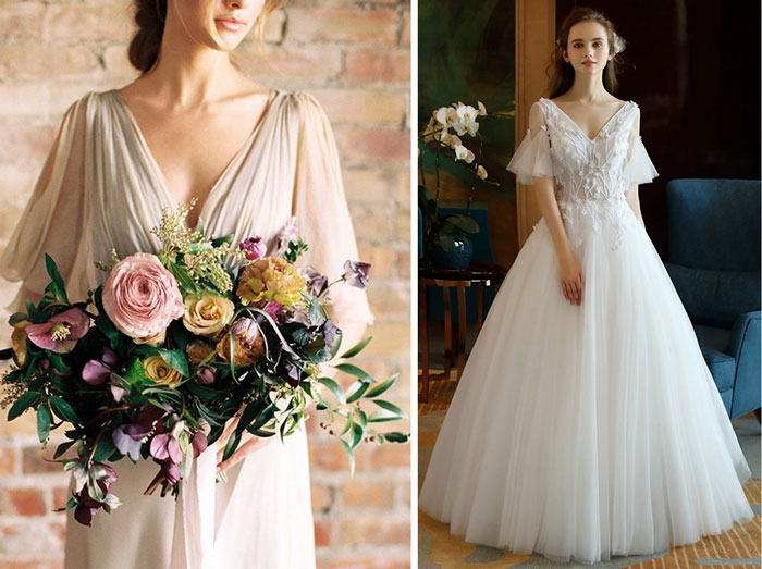 bouquet mariée asymétrique et robe de mariée col en v