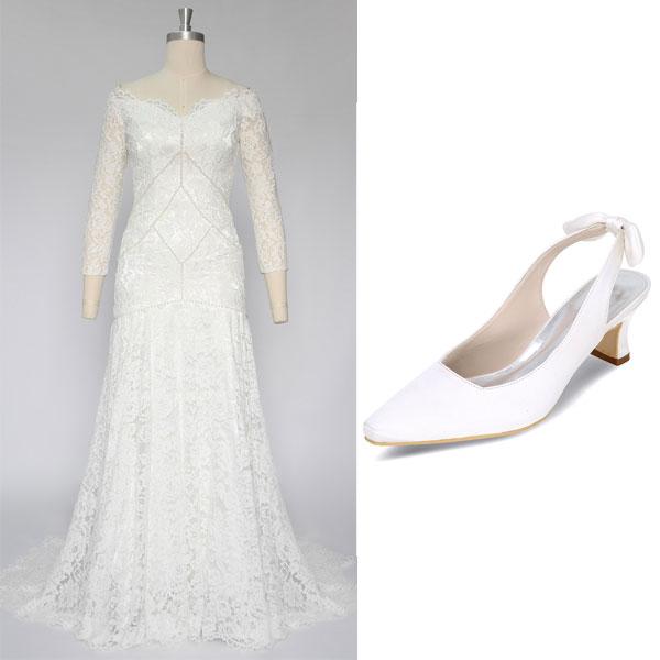 robe de mariée manche longue en dentelle et Slingback blanc à talon carré