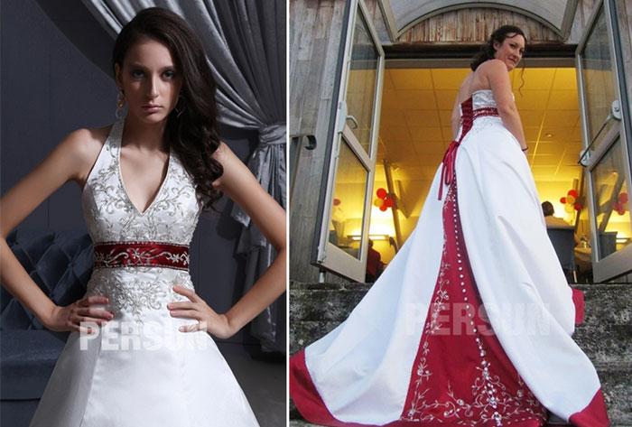 robe de mariée rouge et blanche col américain avec broderies