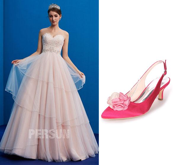 robe de mariée 2019 bustier coeur appliqué de dentelle et chaussures de mariage rose fuchsia orné de fleurs