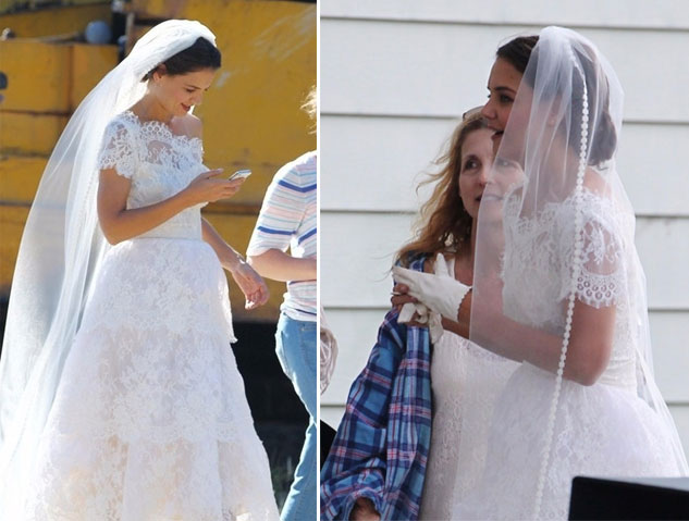 robe de mariée princesse brodé épaule dénudé Katie Holmes