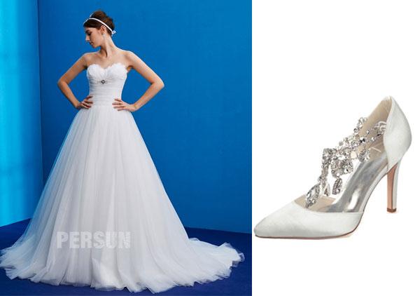 robe de mariée princesse bustier coeur 2019 et chaussures pas cher mariage orné de strass