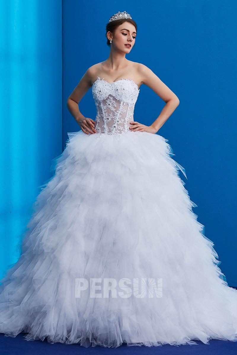 robe de mariée sexy jupe à volants embelli de bijoux