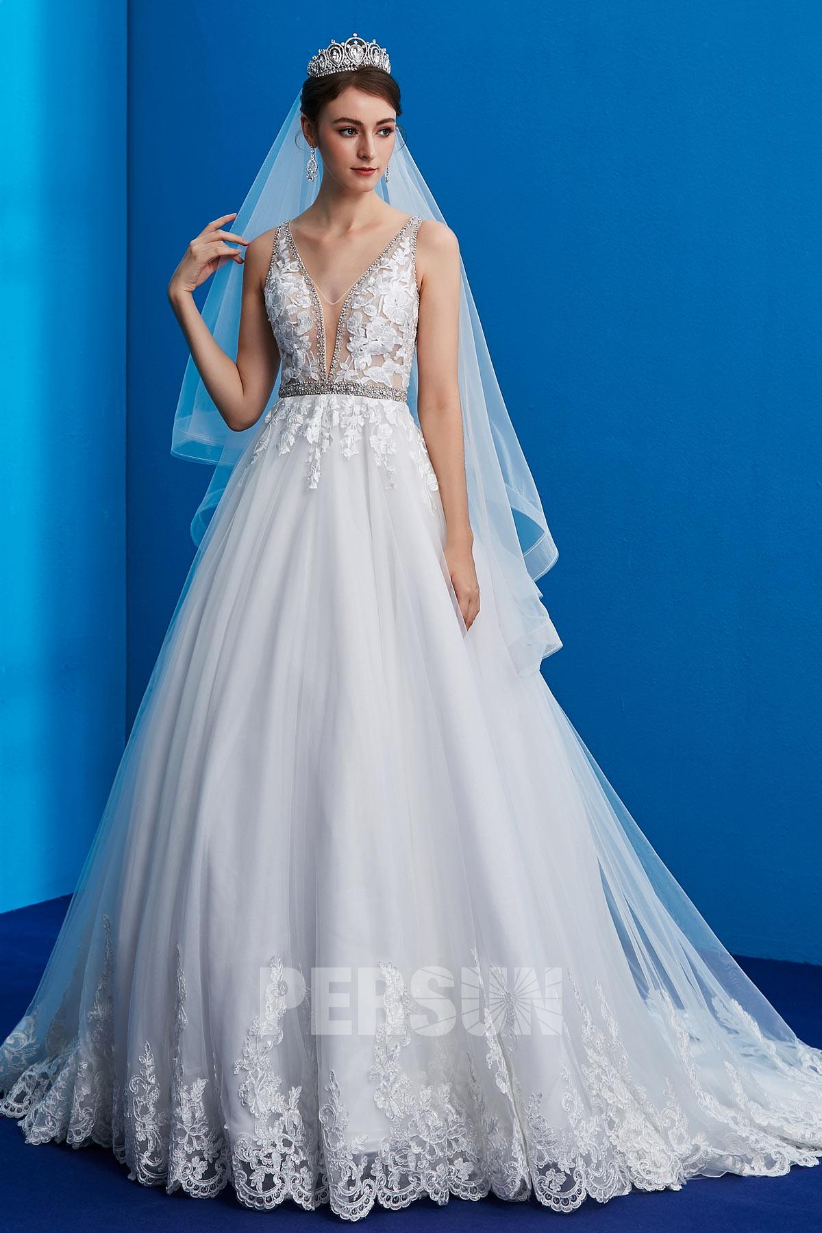 robe de mariée 2019 col en V appliqué de dentelle
