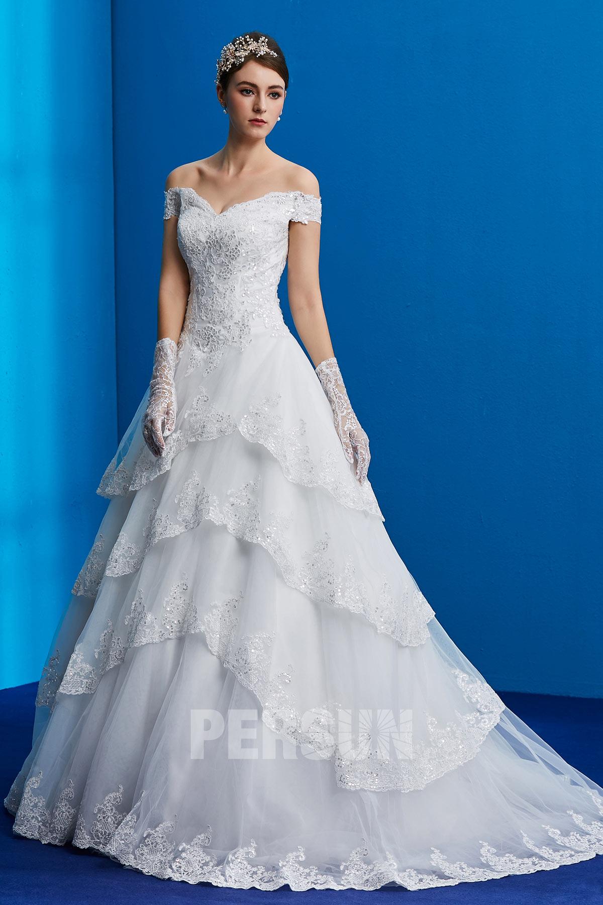 robe de mariée 2019 princesse épaule dénudé appliqué de dentelle