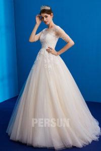 robe de marie 2019 princesse avec manche embelli de bijoux et strass