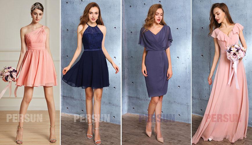 robes courtes et longues pour demoiselles d'honneur