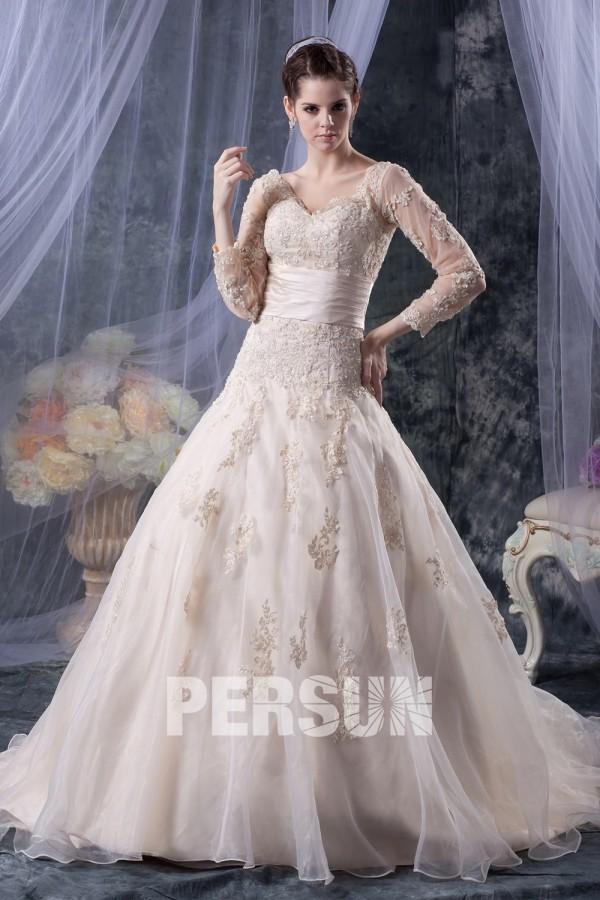 robe de mariée champagne avec manche longue