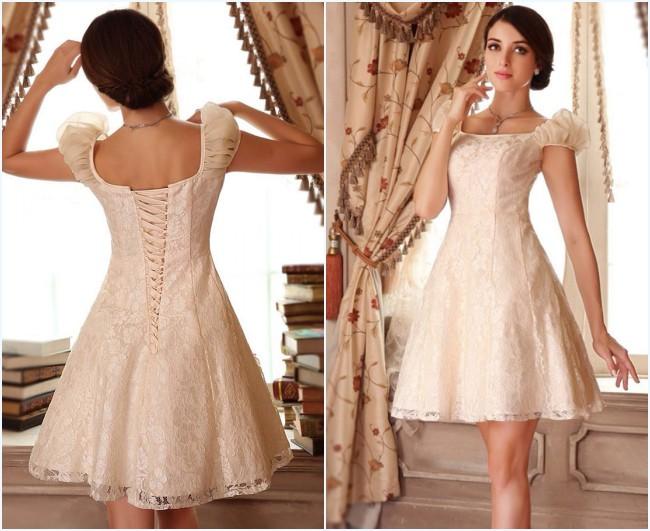 Robe de mariée crème courte en dentelle