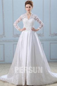 robe de mariée style Kate Middleton manche longue appliqué de dentelle