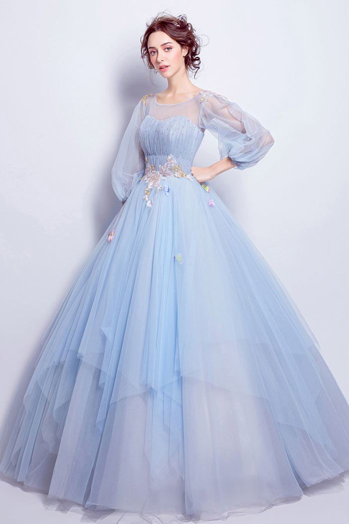 robe de mariée bleu princesse avec manche