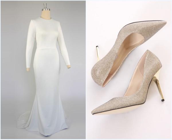 Robe de mariée simple avec manche longue brodé et ballerine