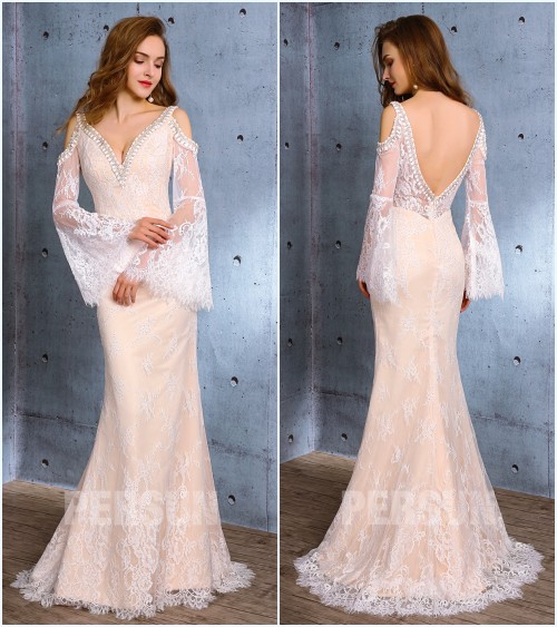 robe de mariée sexy 2019 en dentelle avec manche évasée