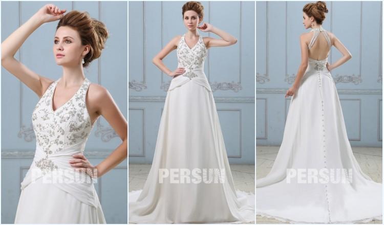 robe de mariée col américain avec appliques dos découpé