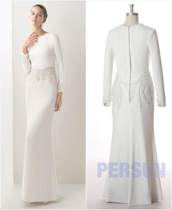 robe de mariée simple brodé de bijoux pour soirée de mariage