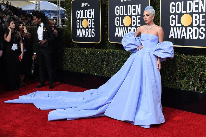 robe de soirée bleu princesse aux goldens globes 2019