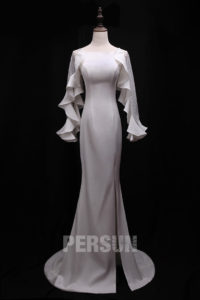 robe blanche sirène pour soirée mariage hiver