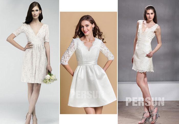 robes courtes blanches écrue pour mariage civil col en V
