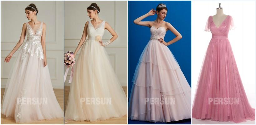 robes de mariée tendance 2019 couleur champagne et rose