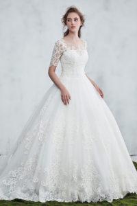 princesse robe de mariée avec manche courte pour hiver