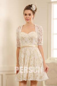 robe courte de mariée à manche courte dentelle