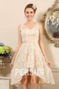 chic robe de mariée courte dentelle col en V