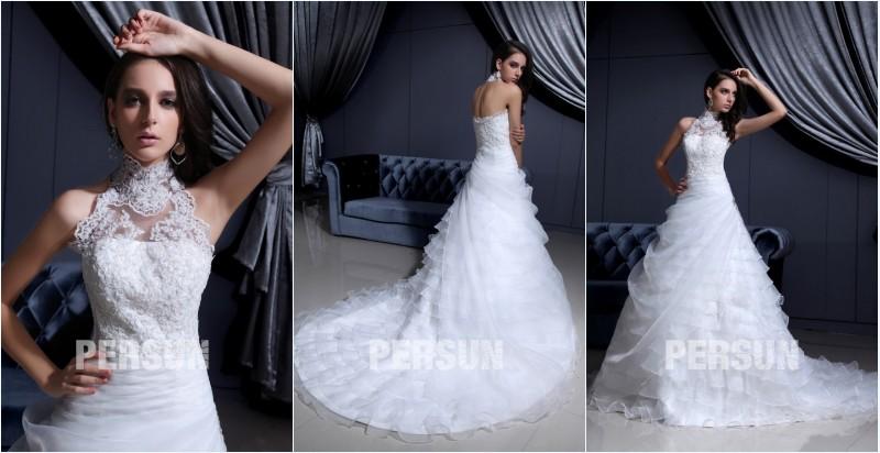 robe de mariée halter princesse appliqué de dentelle