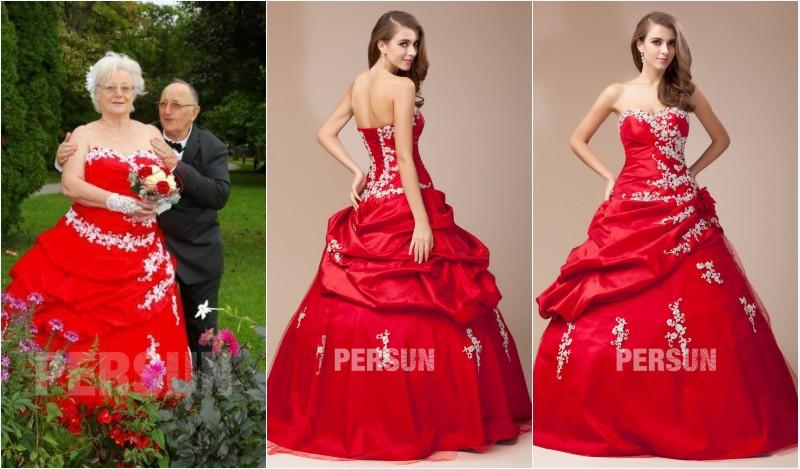 robe de mariée rouge bustier coeur appliqué de dentelle