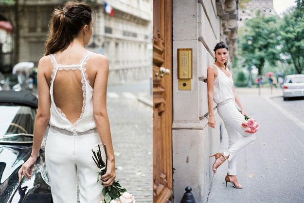 combinaison blanc dos découpé pour mariée