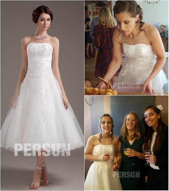 robe de mariée courte bustier droit avec appliques & bijoux
