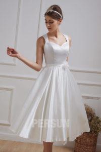 robe de mariée courte simple dos découpé
