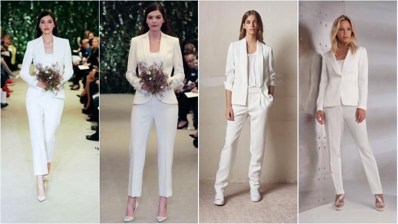 tailleur pantalon blanc simple pour mariée