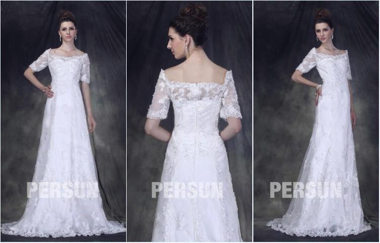robe de mariée dentelle avec manche courte épaule dénudé