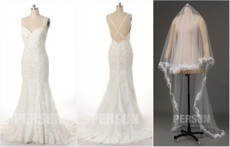 robe de mariée sirène dentelle et voile long brodé