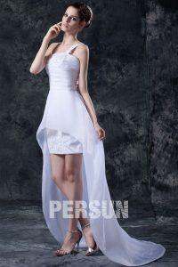 robe de mariée asymétrique courte devant longue derrière