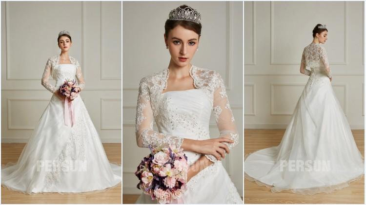 robe de mariée longue princesse avec boléro