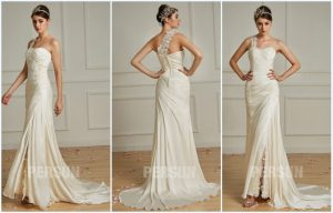 robe de mariée asymétrique fendue appliqué de dentelle 2019